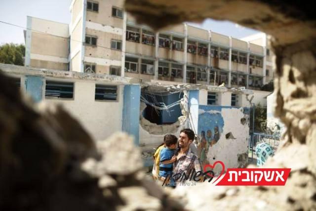 """הותקפו משגרי שיגור שירו בסמוך לבית  ספר של אונר""""א (צילום Gaza now news)"""