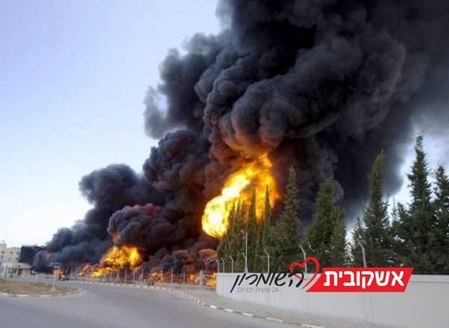 מאגרי הדלק של תחנת הכוח בעזה עולים באש (צילום Gaza now news)