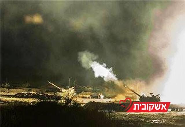 """תותחי צה""""ל המשיכו לירות הלילה לעבר  נקודות שיגורי רקטות (צילום Gaza now News)"""